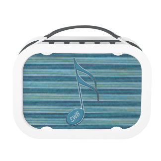 Monogram Music Note and Stripes in Shades of Blue Replacement Plate