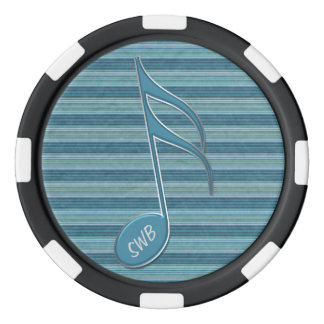 Monogram Music Note and Stripes in Shades of Blue Set Of Poker Chips