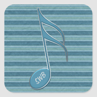 Monogram Music Note and Stripes in Shades of Blue Square Sticker