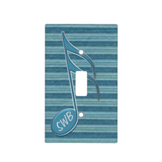 Monogram Music Note and Stripes in Shades of Blue Switch Plate Covers
