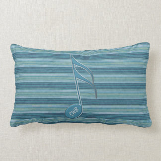 Monogram Music Note and Stripes in Shades of Blue Throw Pillows