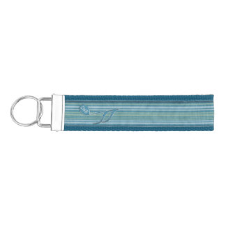 Monogram Music Note and Stripes in Shades of Blue Wrist Keychain