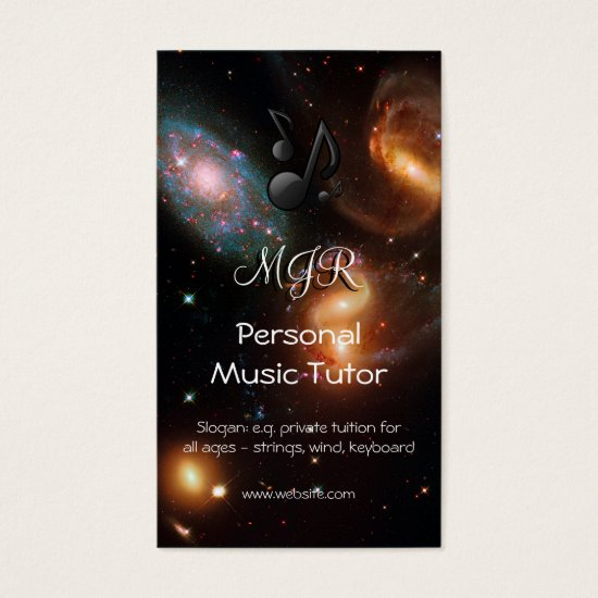 Monogram Music Tutor, deep space galaxy cluster Business Card