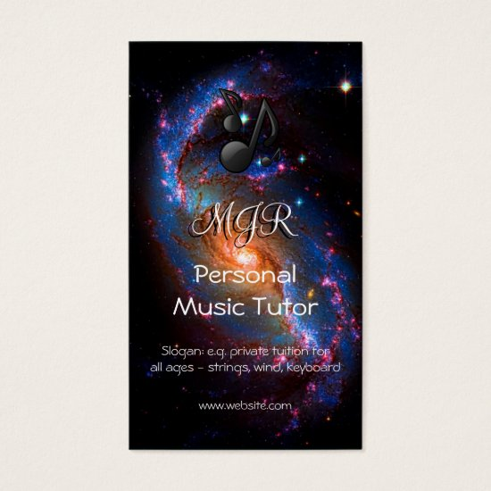 Monogram Music Tutor on Spiral Galaxy space image Business Card