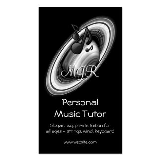 Monogram, Music Tutor, Rings of Gas Giant Saturn Double-Sided Standard Business Cards (Pack Of 100)