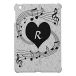 Monogram Musical notes heart and piano keys Case For The iPad Mini