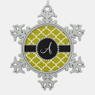 Monogram mustard gold moroccan quatrefoil snowflake pewter christmas ornament