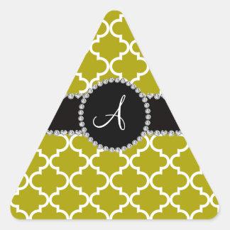 Monogram mustard gold moroccan quatrefoil sticker