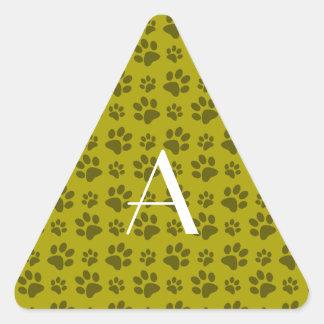 Monogram mustard yellow dog paw prints stickers