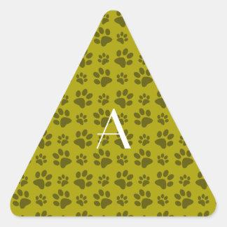 Monogram mustard yellow dog paw prints triangle sticker