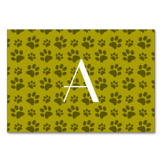 Monogram mustard yellow dog paw prints table cards