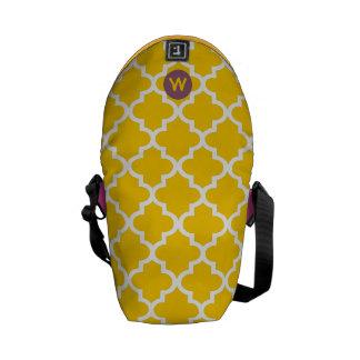 Monogram Mustard Yellow Moroccan Tile Pattern Messenger Bag