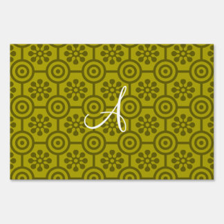 Monogram mustard yellow retro flowers and circles signs