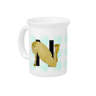 Monogram N Cartoon Horse Personalised Pitcher