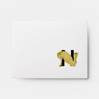 Monogram N Cartoon Pony Personalised Envelope