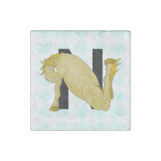 Monogram N Cartoon Pony Personalised Stone Magnet