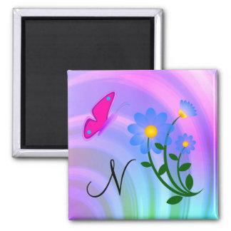 Monogram N Flower Butterfly Magnet