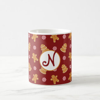 Monogram 'N' Gingerbread Cookie Christmas Mug