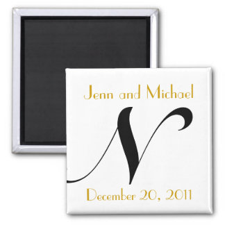 Monogram N Gold & Black Wedding Announcement Magnet