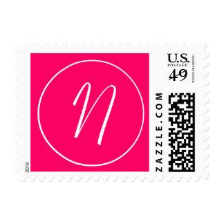 Monogram N Hot Pink & White Wedding USPS Postage