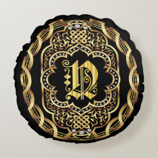 Monogram N IMPORTANT Read About Design Round Pillow