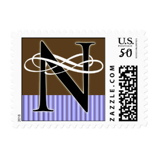 Monogram N Postage -- Pick Your Own Color!