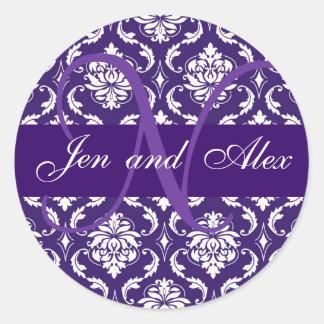 Monogram N Purple Damask Wedding Favor Sticker