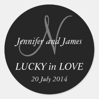 Monogram N Stickers for Weddings Black