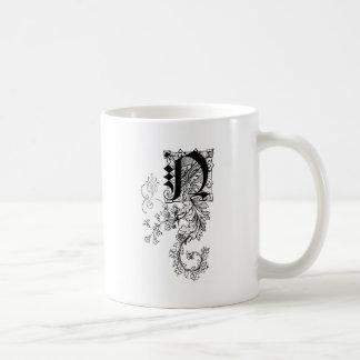 Monogram N with Acanthus Leaf Classic White Coffee Mug