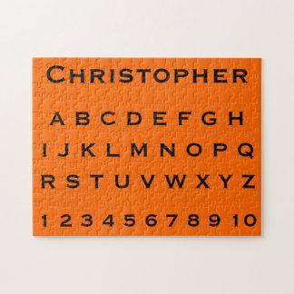 Monogram Name Alphabet and Numbers on Orange Jigsaw Puzzles