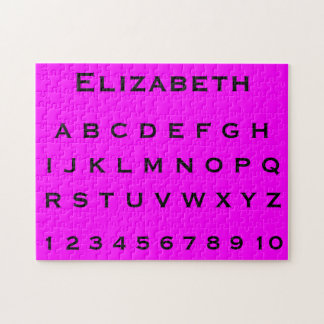Monogram Name Alphabet and Numbers on Pink Puzzles