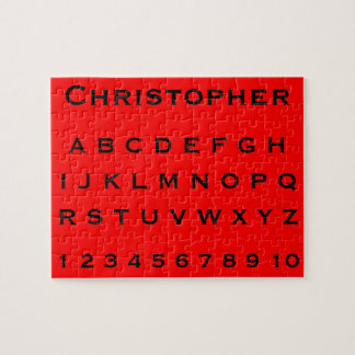 Monogram Name Alphabet and Numbers on Red Jigsaw Puzzle