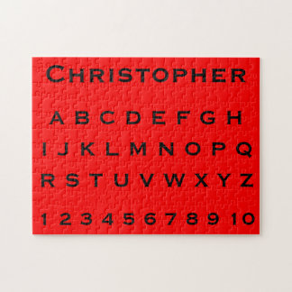 Monogram Name Alphabet and Numbers on Red Jigsaw Puzzles
