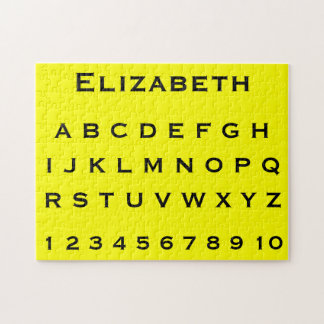 Monogram Name Alphabet and Numbers on Yellow Jigsaw Puzzles