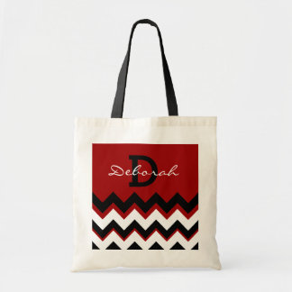 monogram name and initial & chevron tote bag