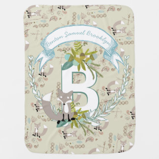 Monogram Name Aqua Teal Garland Fox Acorns Baby Blanket