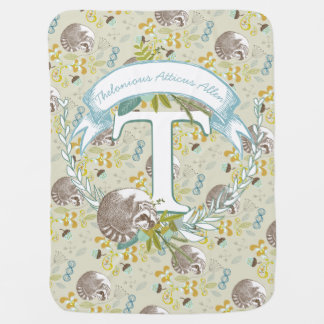 Monogram Name Aqua Teal MINT Garland Raccoon Acorn Receiving Blanket