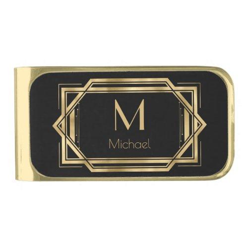 Monogram  Name Black and Gold Geometric Art Deco Gold Finish Money Clip