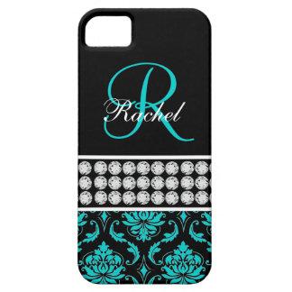Monogram Name Black Aqua Damask iPhone 5 Case