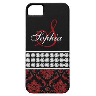 Monogram Name Black Red Damask iPhone 5 Case