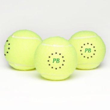 Monogram Name Black Stars Personalized  Tennis Balls