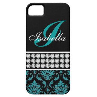 Monogram Name Black Turquoise Damask iPhone 5 Case