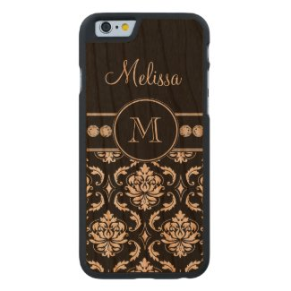 Monogram Name Black White Damask Pattern Carved® Cherry iPhone 6 Slim Case