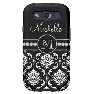 Monogram Name Black White Damask Samsung Case