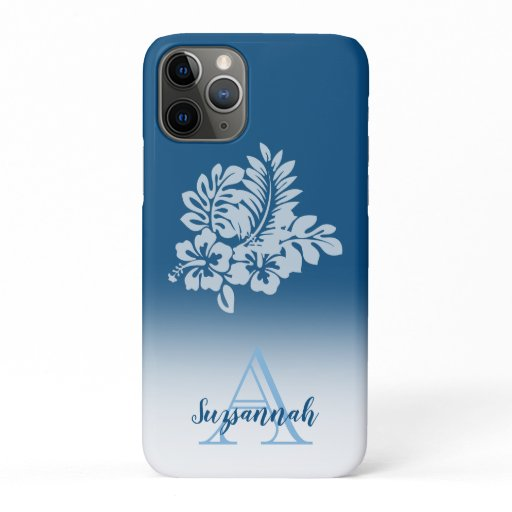 Monogram Name Blue Ombre Tropical Hibiscus Flowers iPhone 11 Pro Case