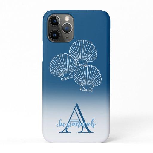 Monogram Name Blue Ombre Tropical Scallop Shells iPhone 11 Pro Case