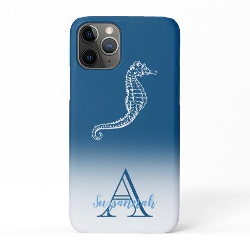 Monogram Name Blue Ombre Tropical Seahorse iPhone 11 Pro Case