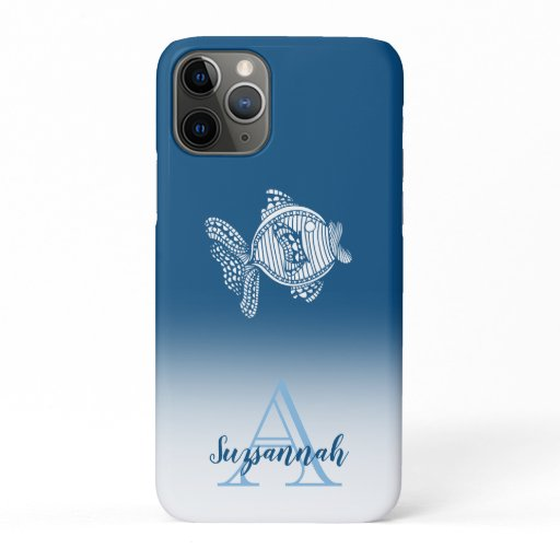Monogram Name Blue Ombre White Fish Outline iPhone 11 Pro Case