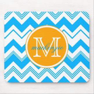 Monogram Name Blue White Chevron Pattern Mouse Pads