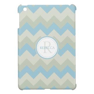 Monogram & Name Chevron Pale Blue iPad Mini Covers